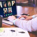 Online meeting on laptop